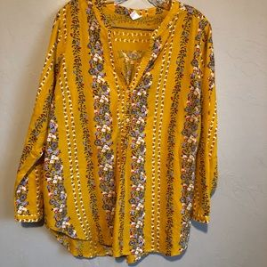 Old Navy Pop Over Yellow Floral Boho Top